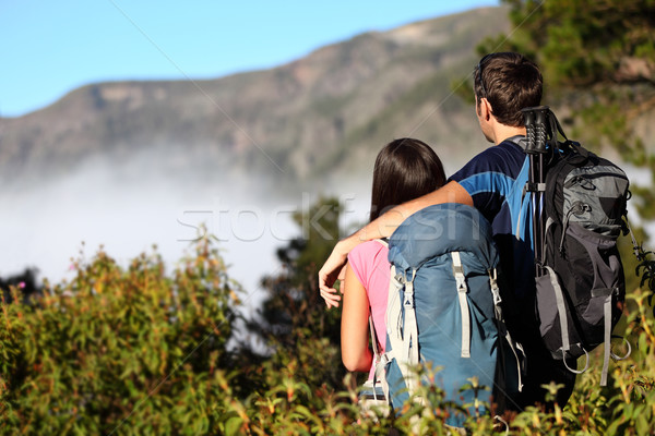 Couple hiking looking at view Stock photo © Maridav