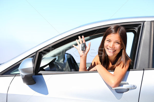 Photo stock: Voiture · pilote · femme · asian · femme · souriante