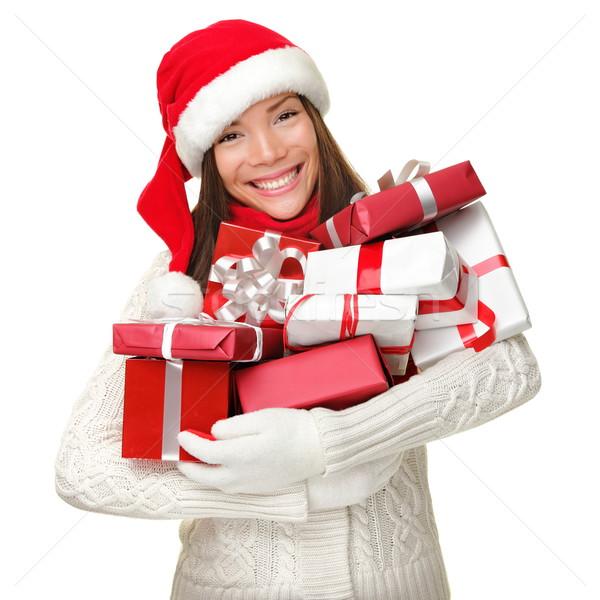 Photo stock: Noël · Shopping · femme · cadeaux · beaucoup
