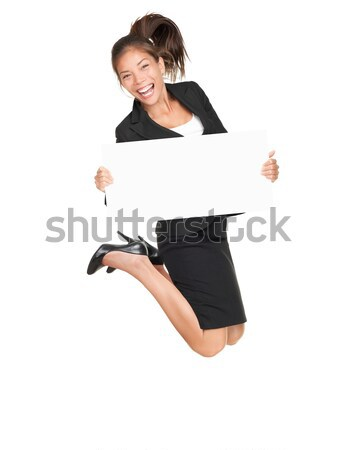 Sign business woman jumping excited Stock photo © Maridav