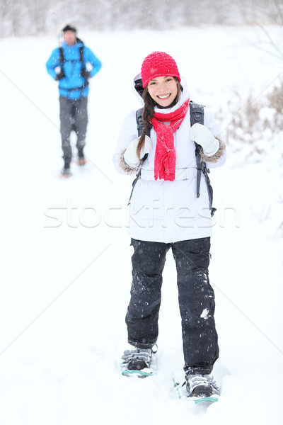 snowshoeing winter hiking Stock photo © Maridav
