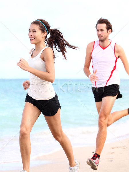 Stock photo: People running: couple runners