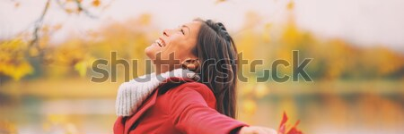 Happy autumn woman blissful Stock photo © Maridav
