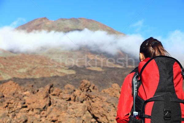 Woman hiking looking at mountain Stock photo © Maridav