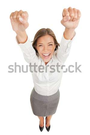 Stock photo: Happy jubilant you woman cheering