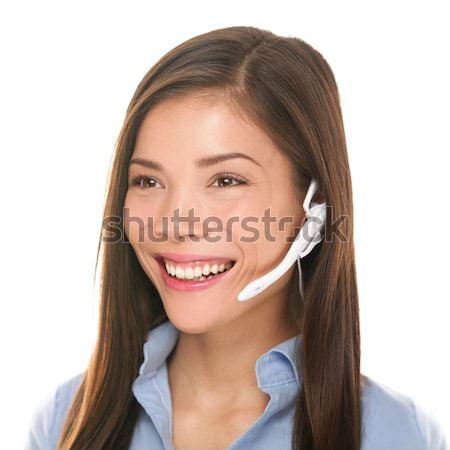 гарнитура обслуживание клиентов женщину говорить дружественный улыбаясь Сток-фото © Maridav