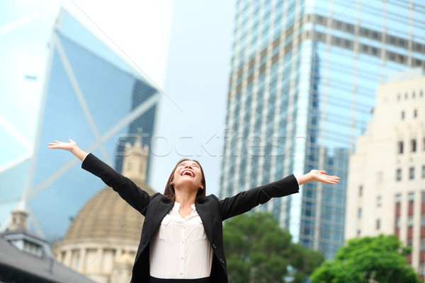 Stock photo: Business woman happy success outdoor in Hong Kong