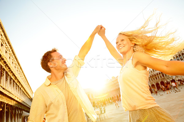 Dancing romantic couple in love in Venice, Italy Stock photo © Maridav