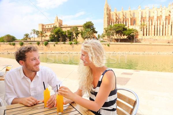 Happy couple on cafe on Mallorca Stock photo © Maridav