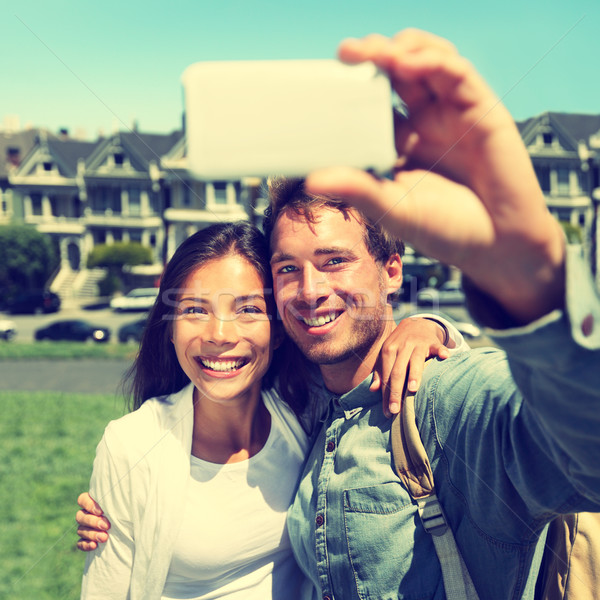 Selfie - Couple taking photo in San Francisco Stock photo © Maridav