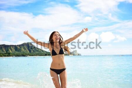 Beach woman in bikini on Waikiki, Oahu, Hawaii Stock photo © Maridav