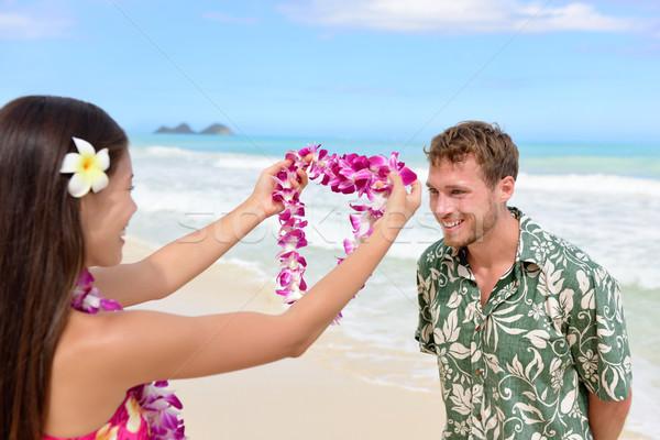 Hawaii kobieta girlanda turystycznych różowy Zdjęcia stock © Maridav