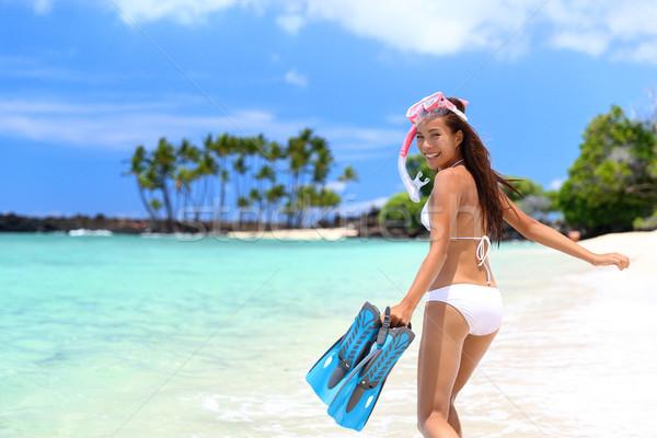 Happy snorkel woman having fun on beach holidays Stock photo © Maridav