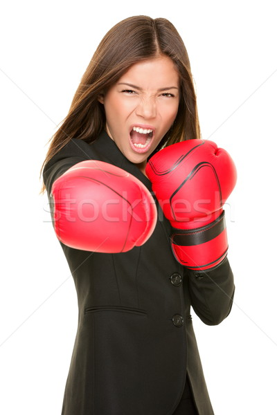 Businesswoman boxing Stock photo © Maridav
