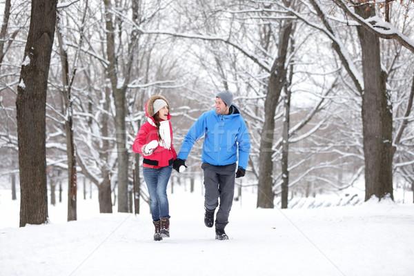 Couple walking in winter forest Stock photo © Maridav