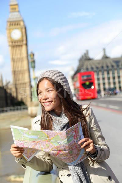 Londen toeristische vrouw sightseeing kaart Stockfoto © Maridav
