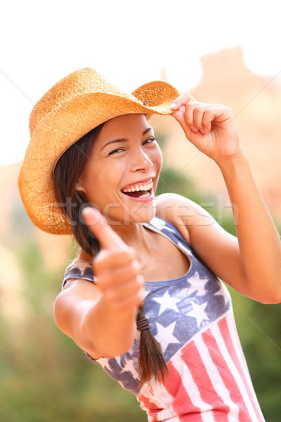 American cowgirl woman happy excited thumbs up Stock photo © Maridav