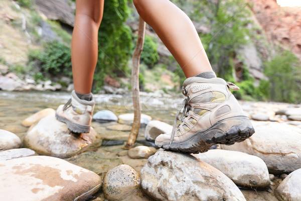 Hiking shoes on hiker outdoors walking Stock photo © Maridav