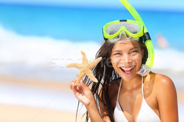 Beach travel woman with snorkel on vacation Stock photo © Maridav