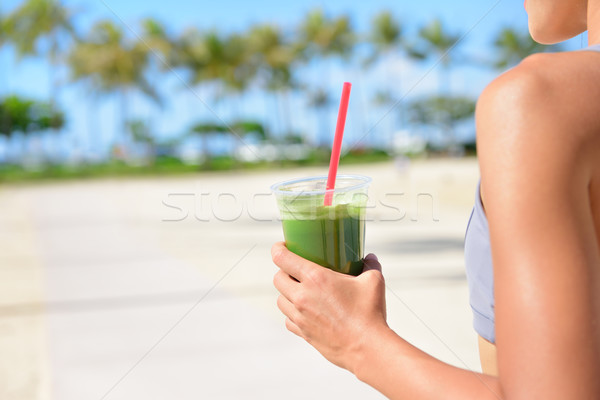 Vegetable green detox smoothie - Woman drinking Stock photo © Maridav