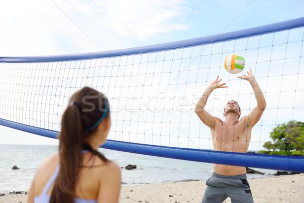 Pessoas jogar praia voleibol ativo estilo de vida Foto stock © Maridav