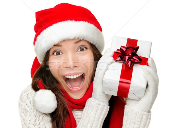 Christmas gift woman isolated Stock photo © Maridav