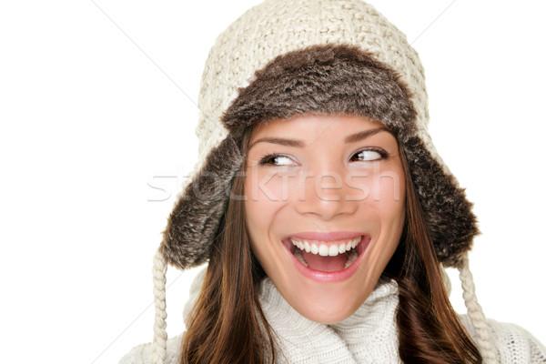 Winter woman looking sideways happy Stock photo © Maridav