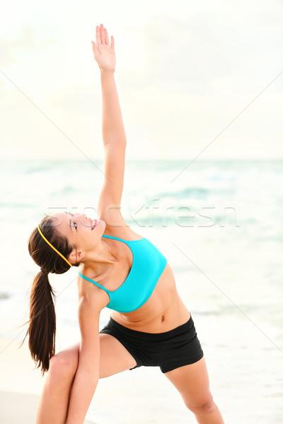 Stockfoto: Yoga · vrouw · strand · sereen