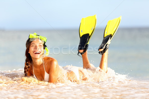 Water snorkeling fun beach woman laughing Stock photo © Maridav