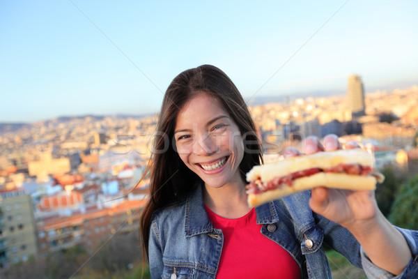 Serrano sandviç kadın yeme Barcelona İspanya Stok fotoğraf © Maridav