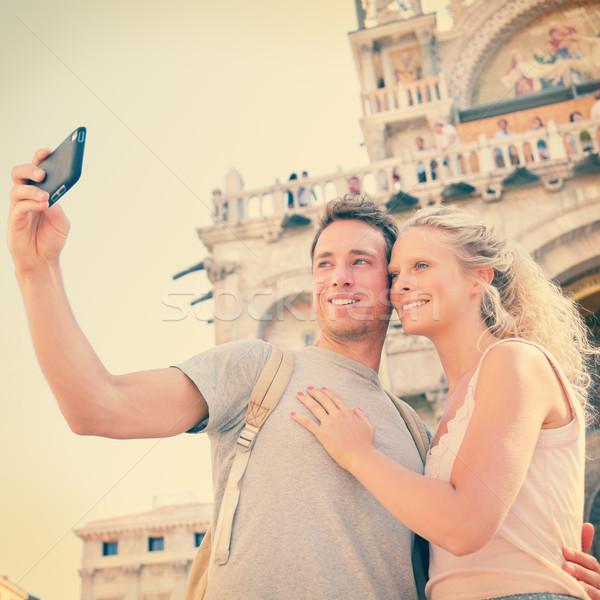 Selfie travel couple in love in Venice, Italy Stock photo © Maridav