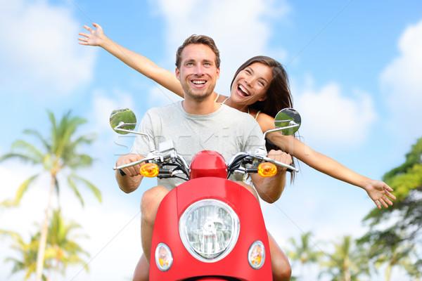 ストックフォト: 幸せ · 無料 · 自由 · カップル · 運転 · スクーター