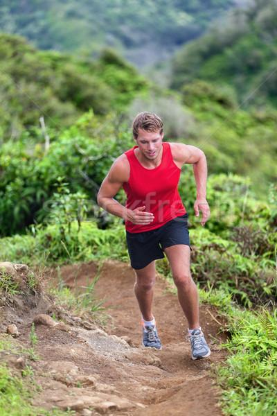 Foto stock: Atleta · corredor · camino · ejecutando · montana · naturaleza