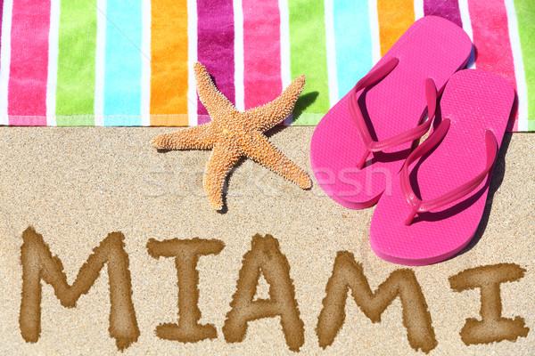 Майами Флорида пляж путешествия написанный песок Сток-фото © Maridav