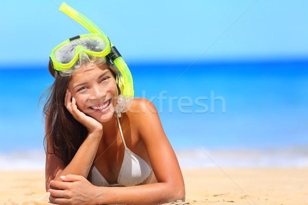Woman on beach vacation holidays with snorkel Stock photo © Maridav