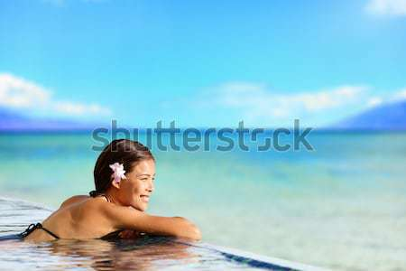 Geothermal spa - woman relaxing in hot spring pool Stock photo © Maridav
