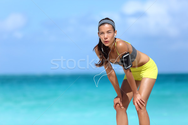 Moe runner meisje ademhaling lopen Stockfoto © Maridav
