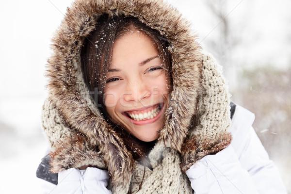 winter woman happy outside Stock photo © Maridav