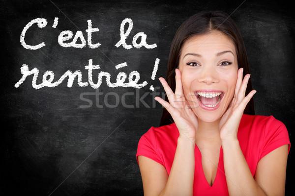 La francês de volta à escola estudante gritando feliz Foto stock © Maridav