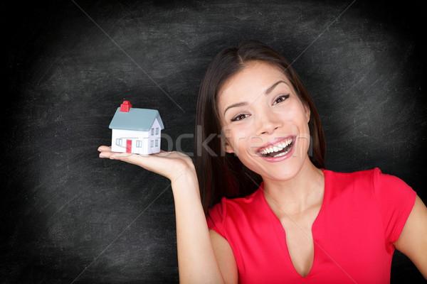 New house owner woman happy - blackboard concept Stock photo © Maridav