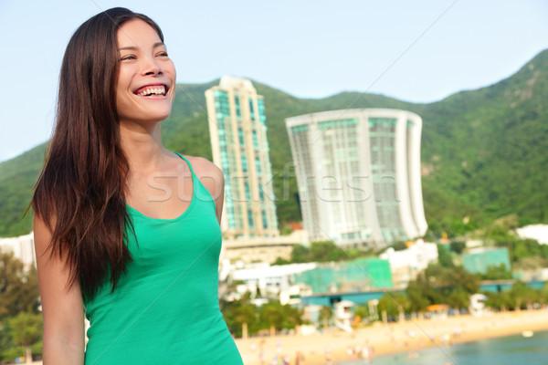 Hong Kong tourist woman at Repulse Bay beach Stock photo © Maridav