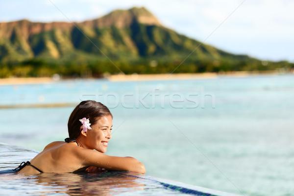 Hawaii plaży podróży kobieta relaks basen Zdjęcia stock © Maridav