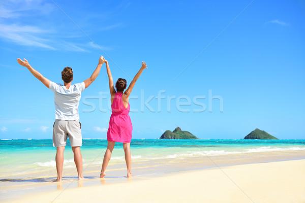 Stok fotoğraf: Yaz · plaj · mutlu · ücretsiz · çift