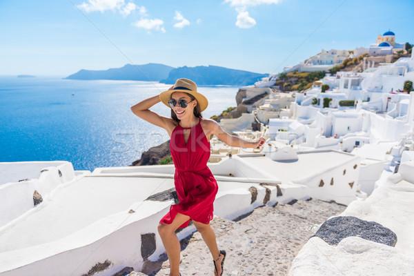 Stock fotó: Utazás · turista · boldog · nő · fut · lépcsősor