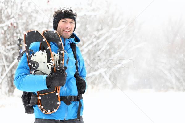 winter snowshoeing man Stock photo © Maridav