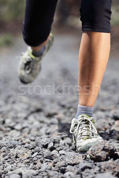 Trail running woman on mountain Stock photo © Maridav