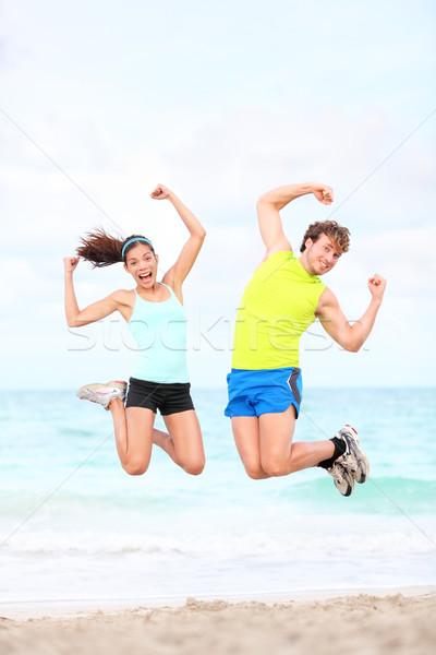 Stockfoto: Fitness · paar · springen · leuk · strand · outdoor