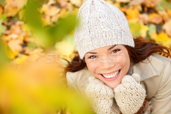 Autumn woman in yellow leaves portrait Stock photo © Maridav