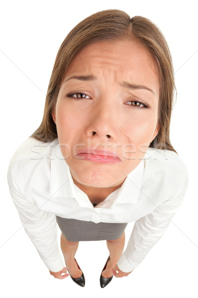 Sad crying disappointed funny business woman Stock photo © Maridav
