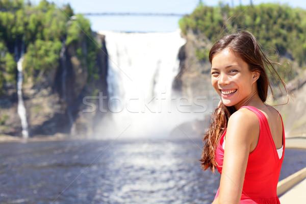 Chute Montmorency fallsquebec and woman tourist Stock photo © Maridav